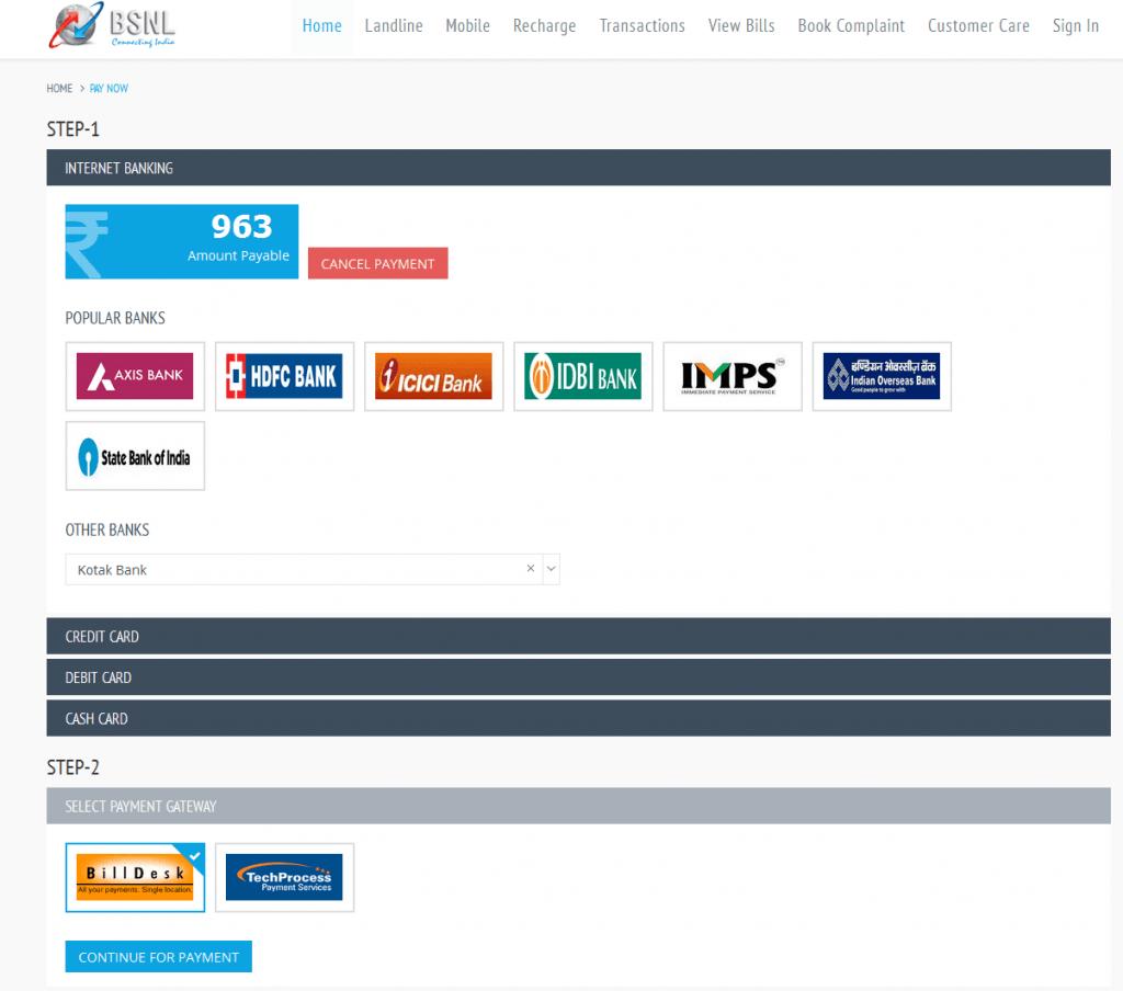 Bsnl Landline Online Bill Payment Online Payment India
