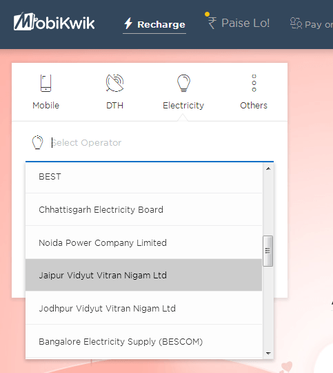 JVVNL Bill Payment using MobiKwik – Get Discounts and Cashbacks for Jaipur Electricity Bill Payment