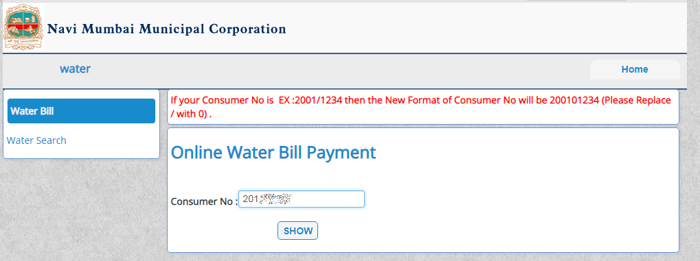 NMMC Online Payment Water Bill