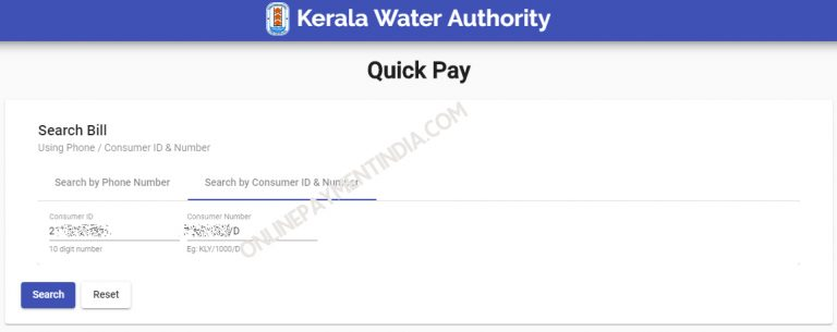 KWA Quick Pay – Kerala Water Authority online payment